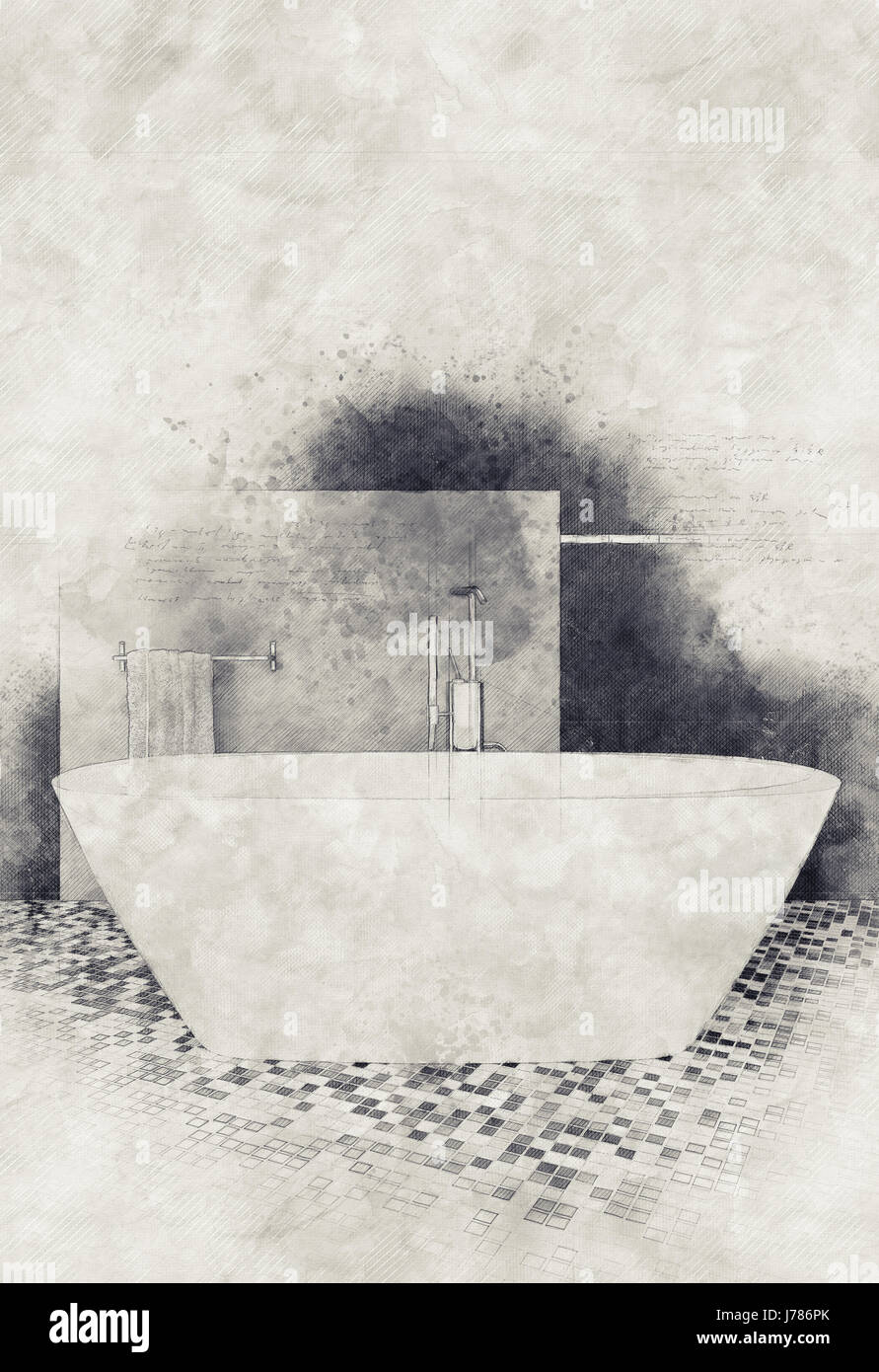 Textured Water Color Paint And Sketch Effect Modern Bathroom Interior With Mosaic Floor Oval White Bathtub Copy Space