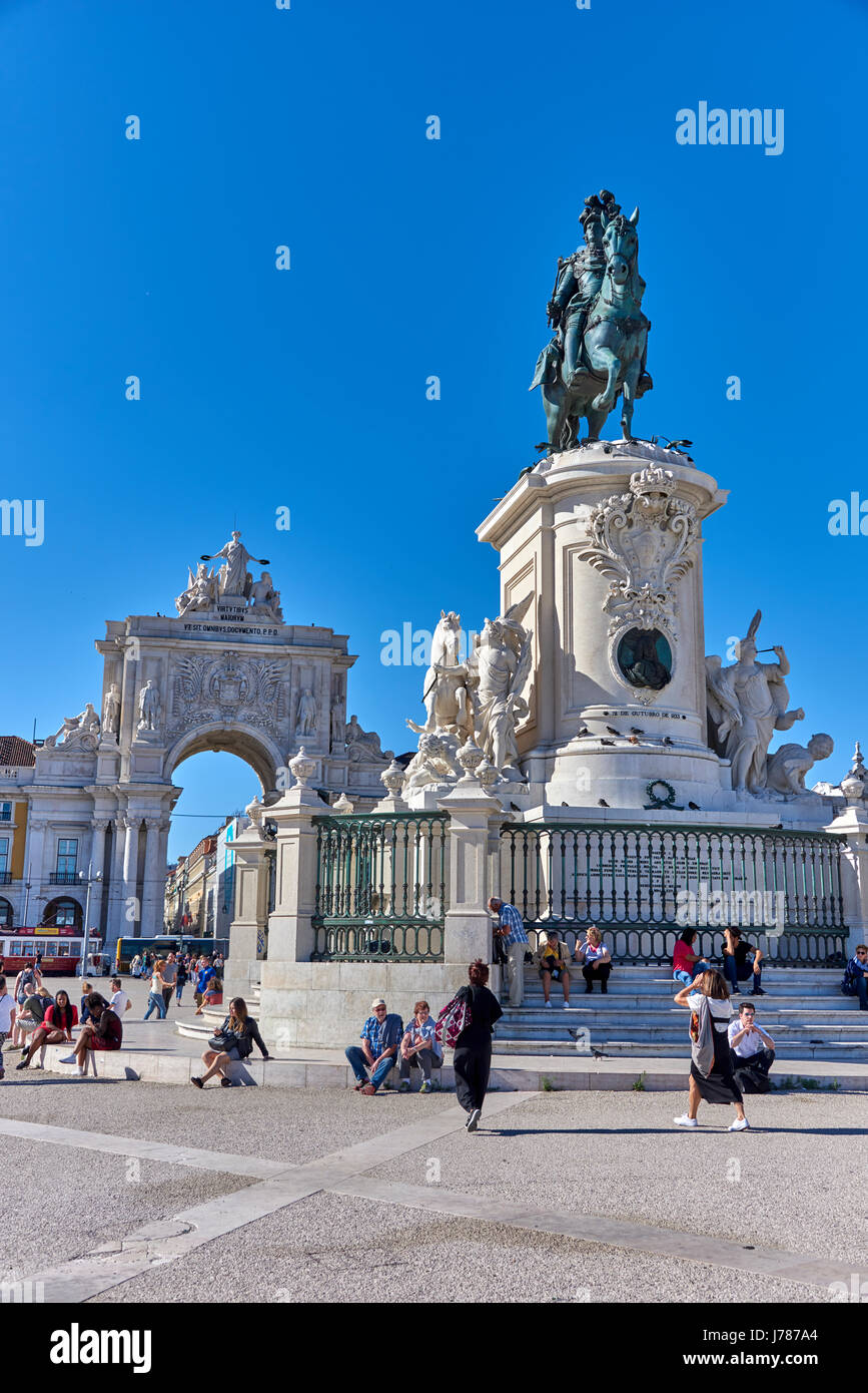Commerce Square in the city of Lisbon, Portugal Stock Photo