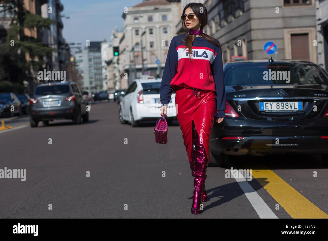 Doina Ciobanu on the streets of Milan during the Milan Fashion Week Fall/Winter 2017 - Stock Image