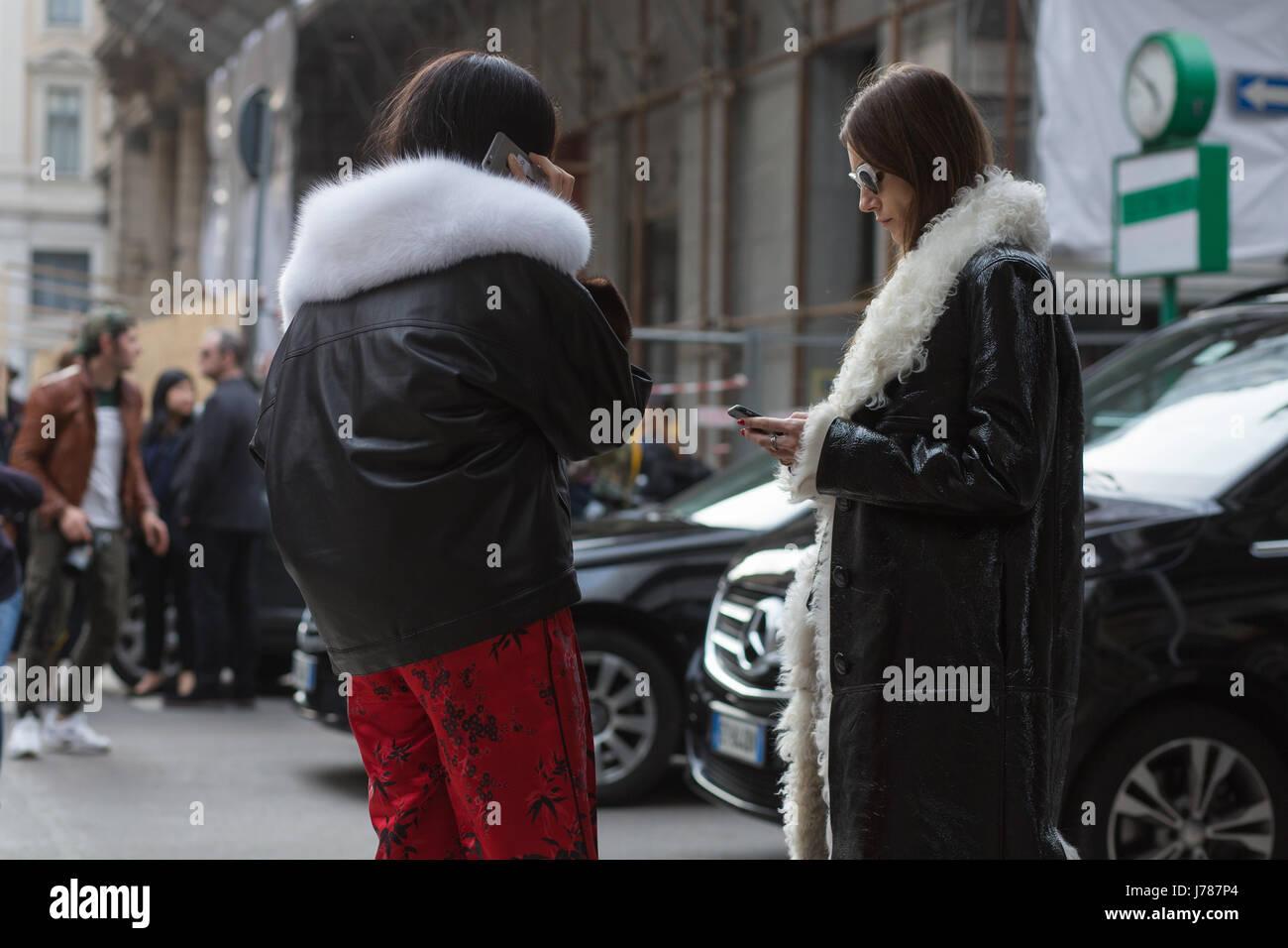 Gilda Abrosio and Giulia Tordini after Ferragamo show during the Milan Fashion Week Fall/Winter 2017 - Stock Image