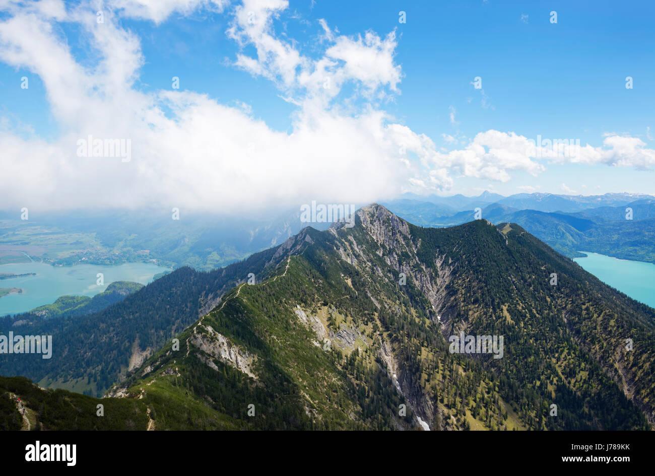 Blick vom Heimgarten zum Herzogstand, links Kocheslsee, rechts Walchensee, Tšlzer Land, Oberbayern, Bayern, Deutschland, Stock Photo