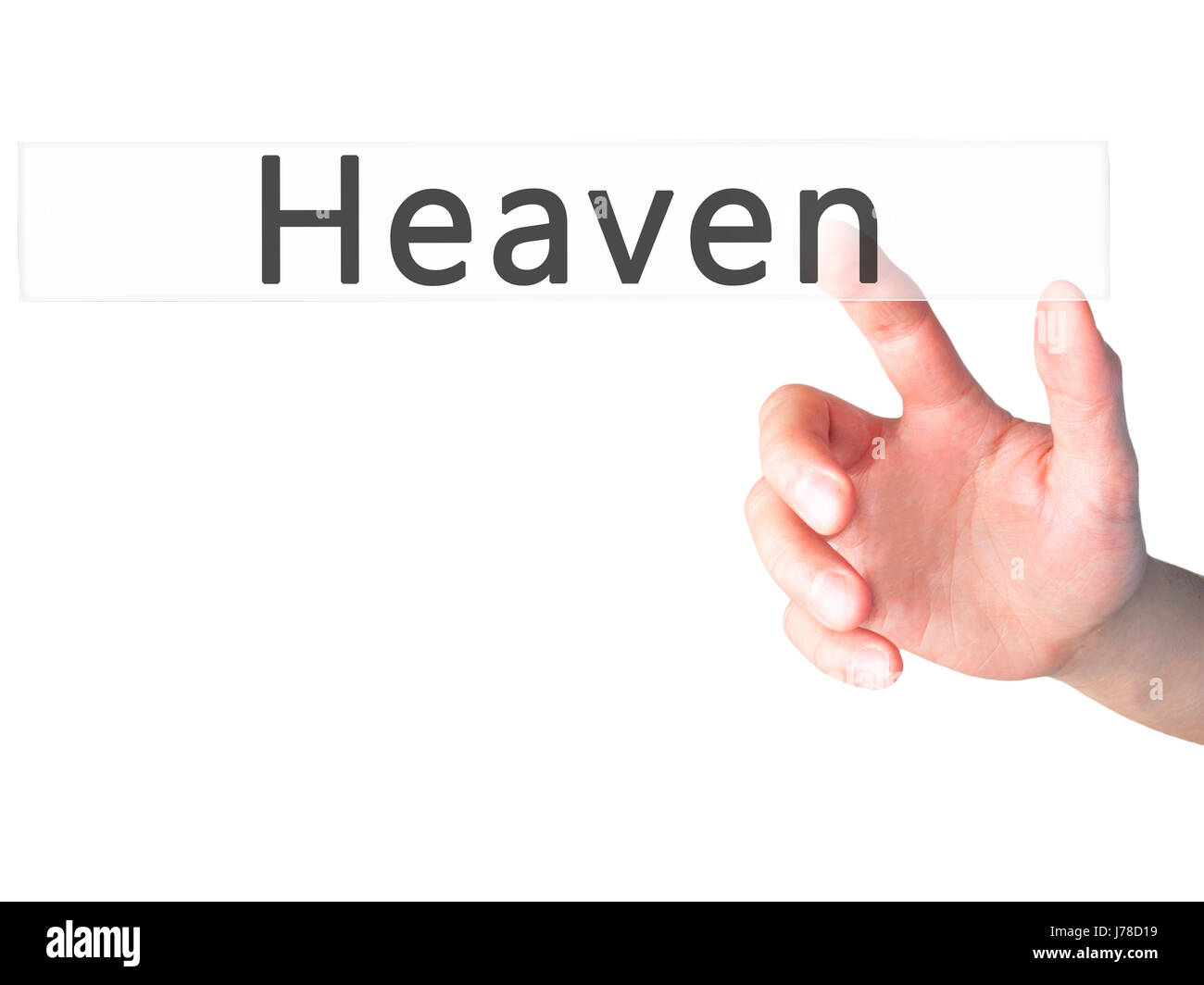 Heaven - Hand pressing a button on blurred background concept . Business, technology, internet concept. Stock Photo Stock Photo