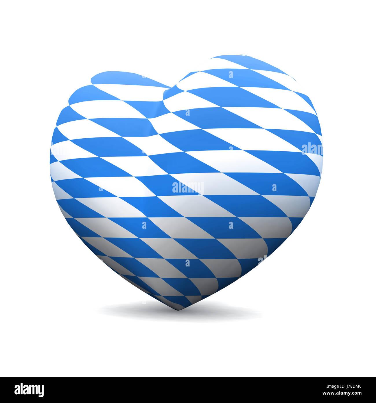 3d heart - we love bavaria - Stock Image