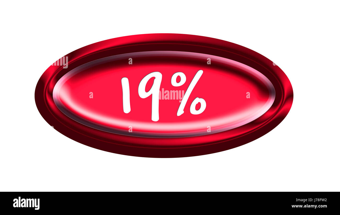 button percent vat nineteen graphic illustration button data informations - Stock Image