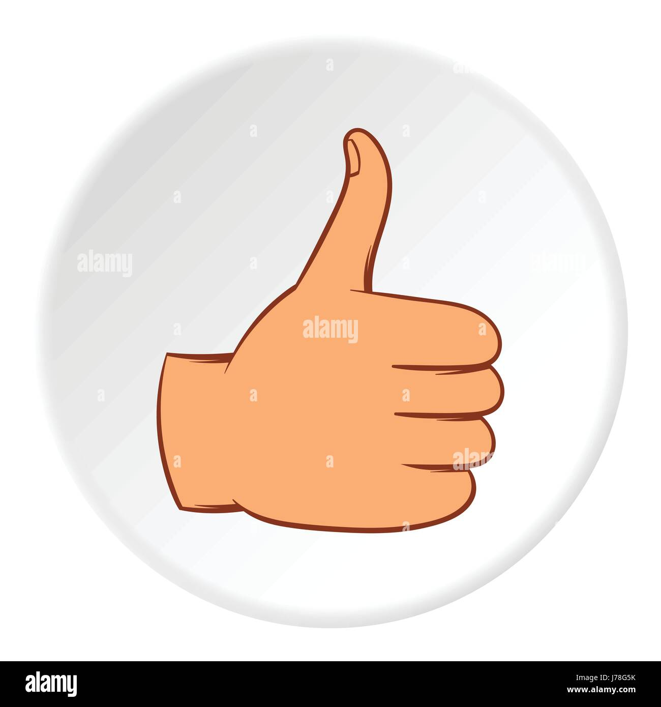 gesture approval icon in cartoon style on white circle background
