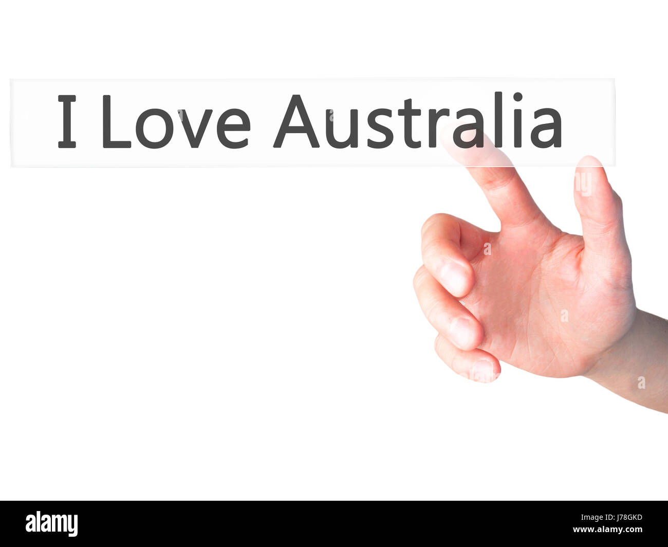 I Love Australia - Hand pressing a button on blurred background concept . Business, technology, internet concept. - Stock Image