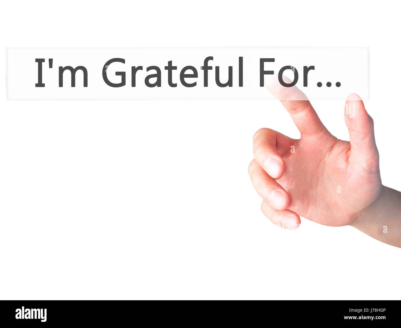I'm Grateful For... - Hand pressing a button on blurred background concept . Business, technology, internet - Stock Image