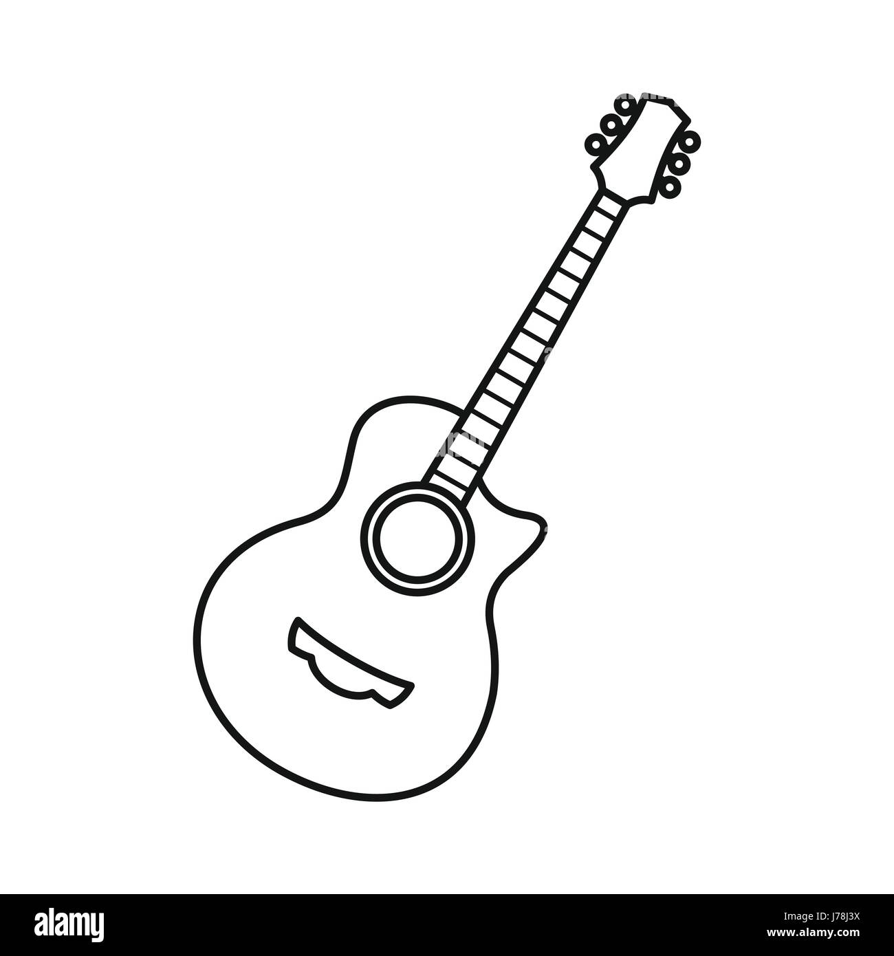 Guitar Icon In Outline Style Isolated On White Background Musical