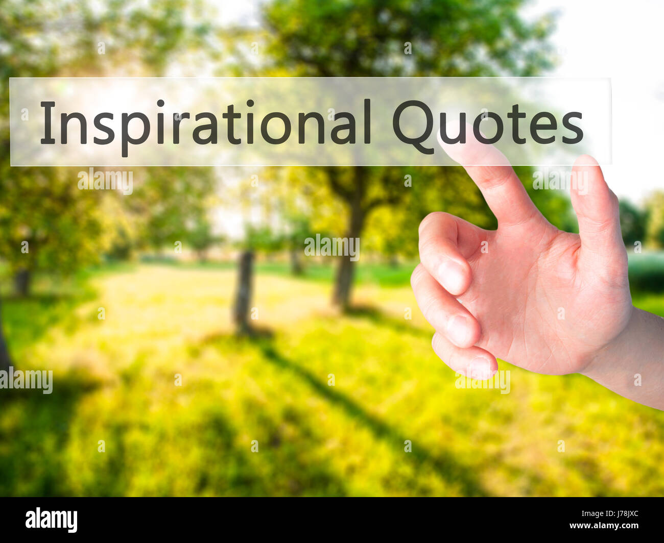 Inspirational Quotes Hand Pressing A Button On Blurred Background