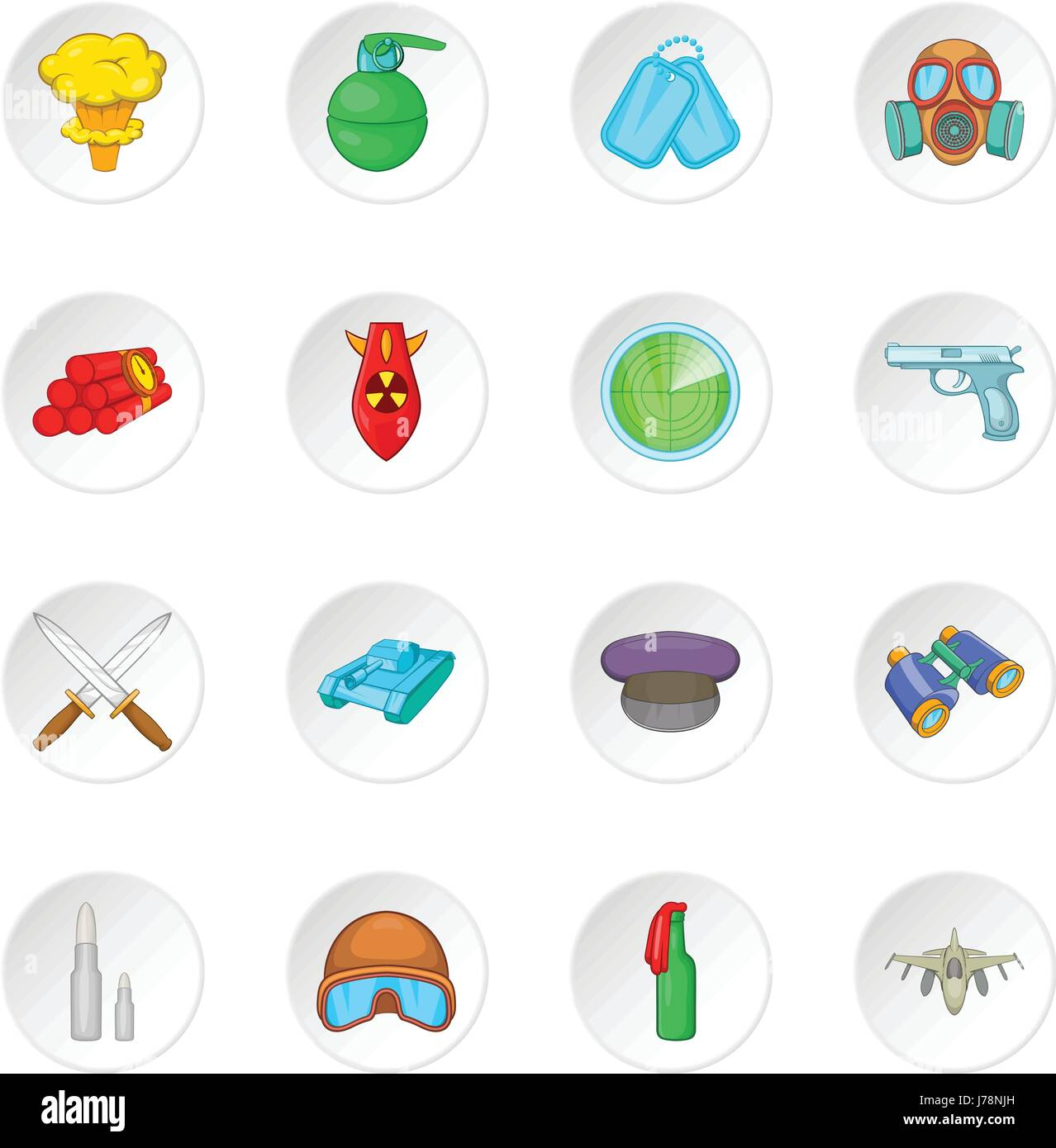 War icons set in cartoon style. Military equipment set collection vector illustration - Stock Image