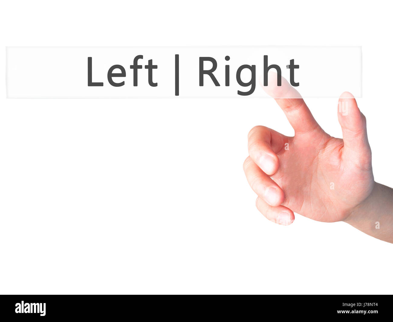 Left Right - Hand pressing a button on blurred background concept . Business, technology, internet concept. Stock - Stock Image