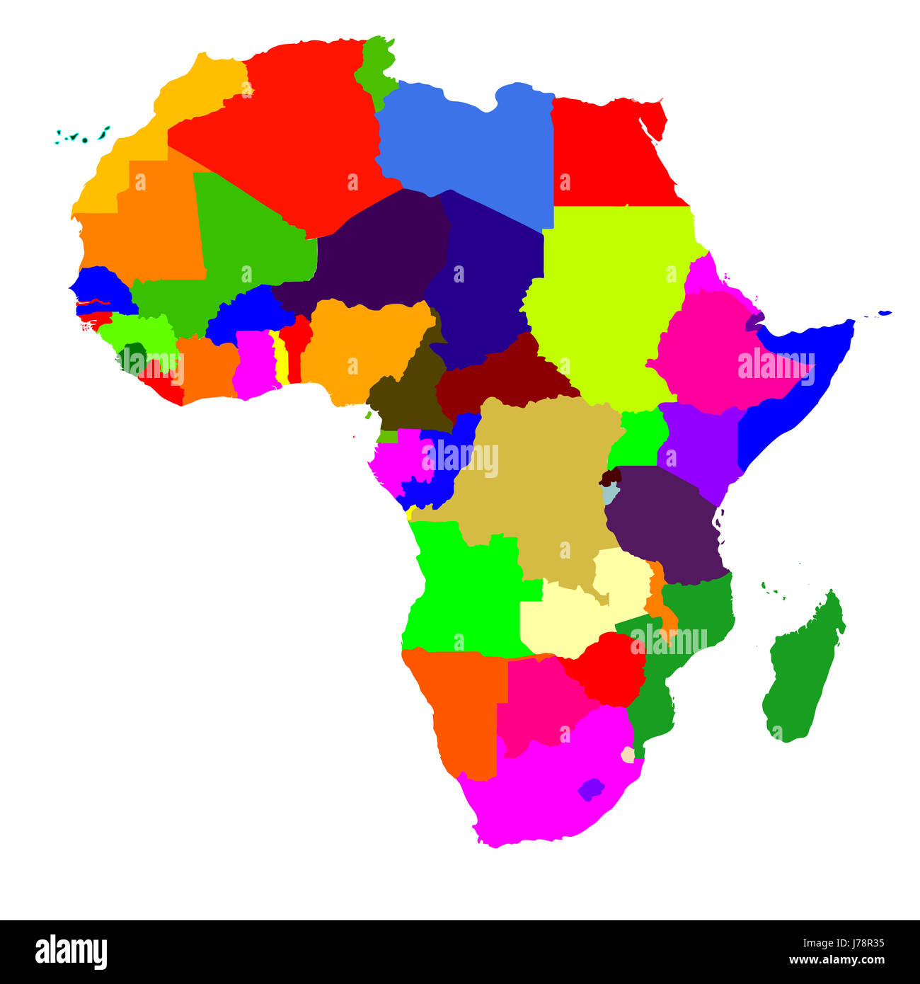 Colour Africa Illustration Color Map Atlas Map Of The World Colour