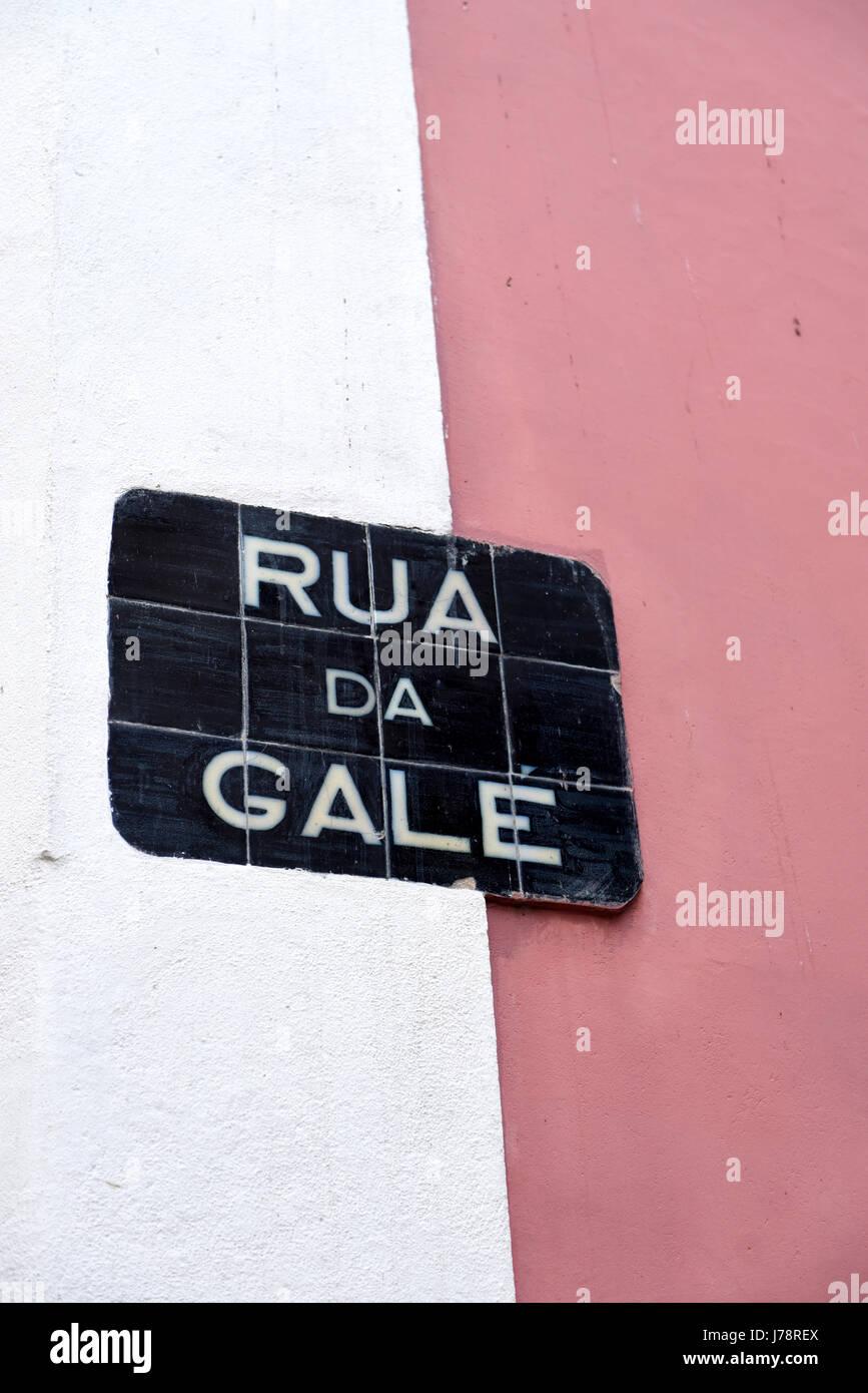 street sign: rua da gale, lisbon, portugal - Stock Image