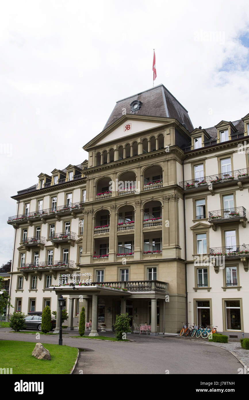 The Lindner Grand Hotel At Interlaken In Switzerland The Property Is Stock Photo Alamy