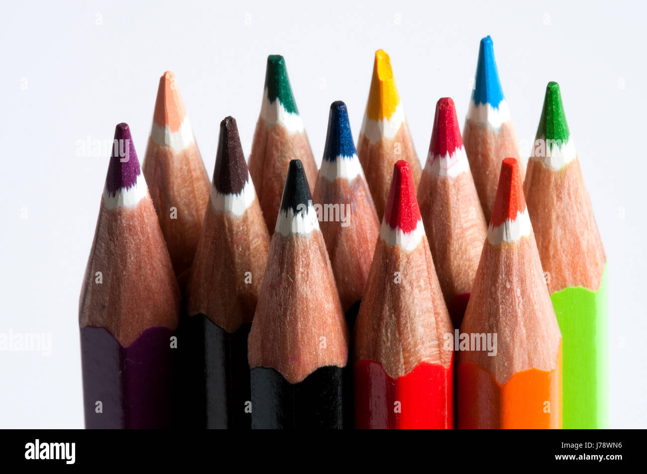 upright vertical color pencils - Stock Image