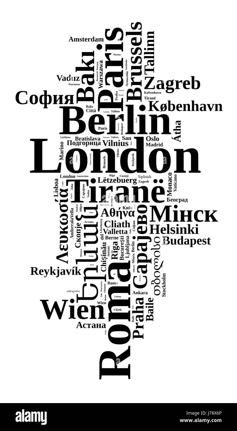 Capitals in europe in europe word cloud concept - Stock Image