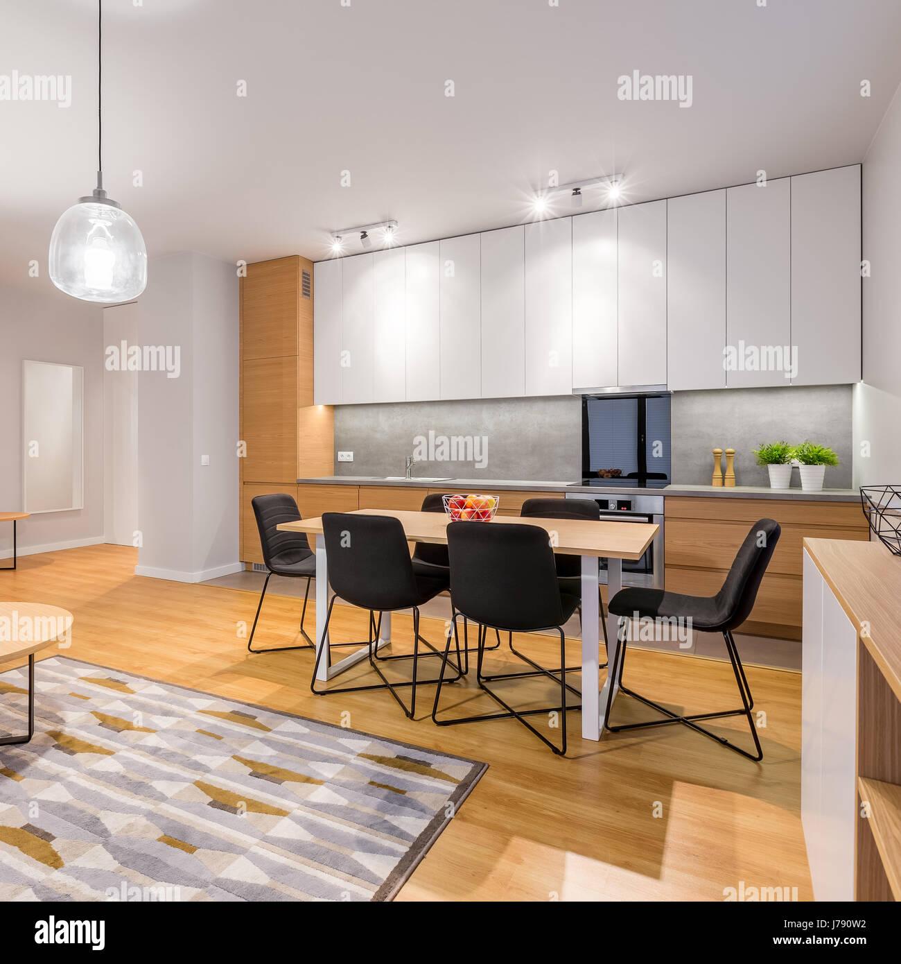 Interior of stylish, modern studio apartment with ...