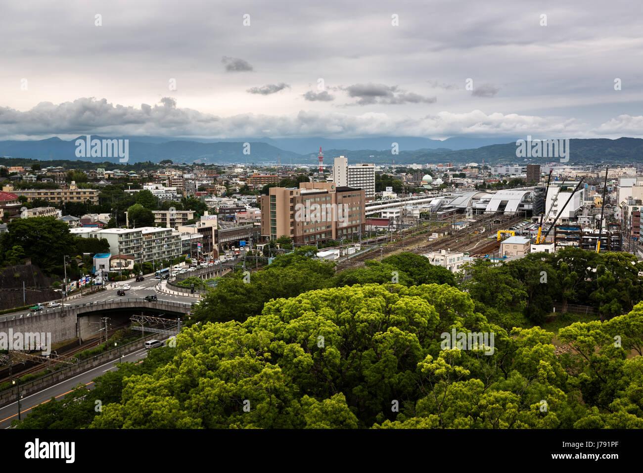 ODAWARA, JAPAN - JUNE 8, 2015: Aerial View of  Odawara city in Kanagawa prefecture, Japan. Odawara population is - Stock Image