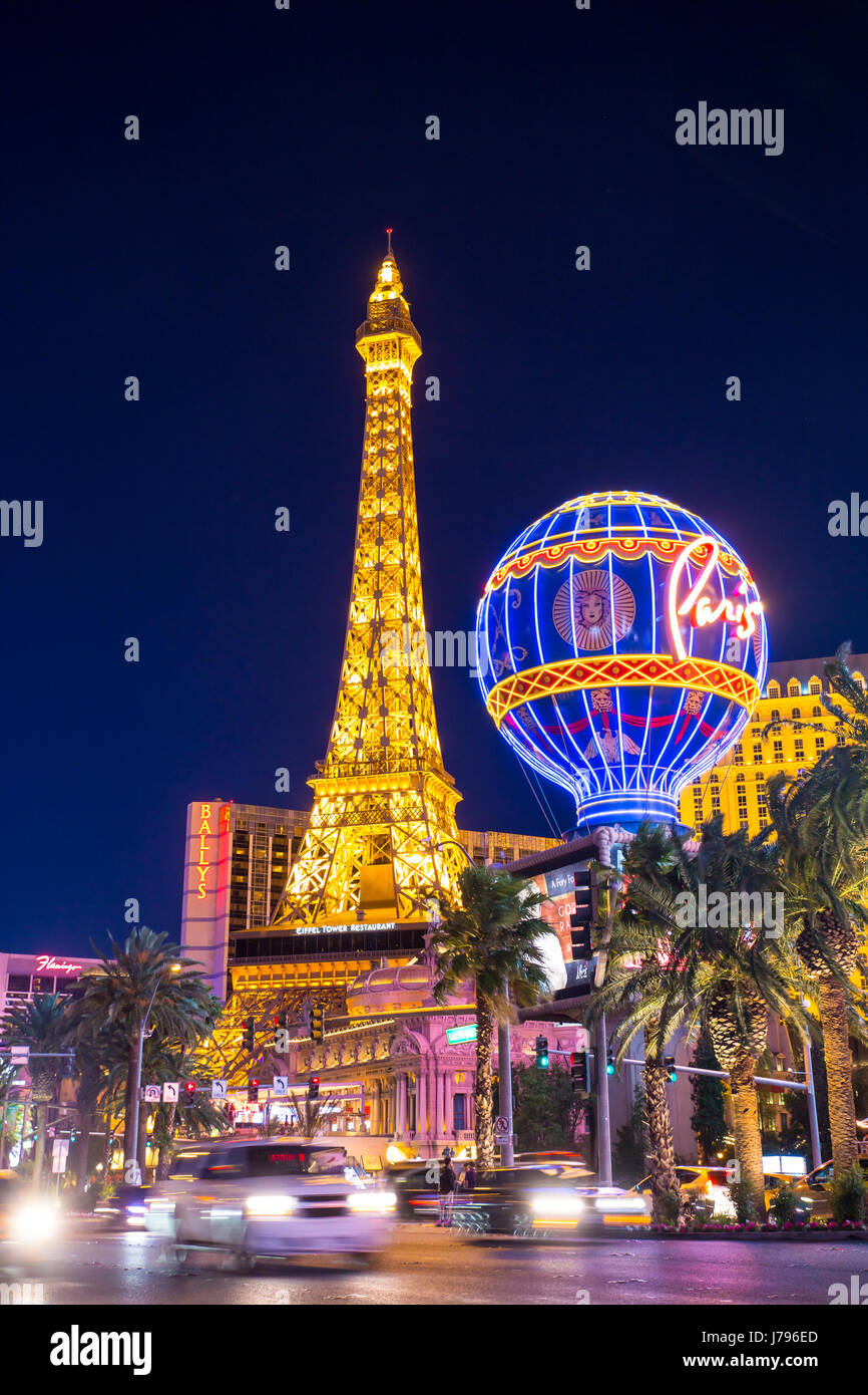 LAS VEGAS, NEVADA - MAY 17, 2017: Las Vegas boulevard lit up at night with hotels and resorts casinos in view. - Stock Image