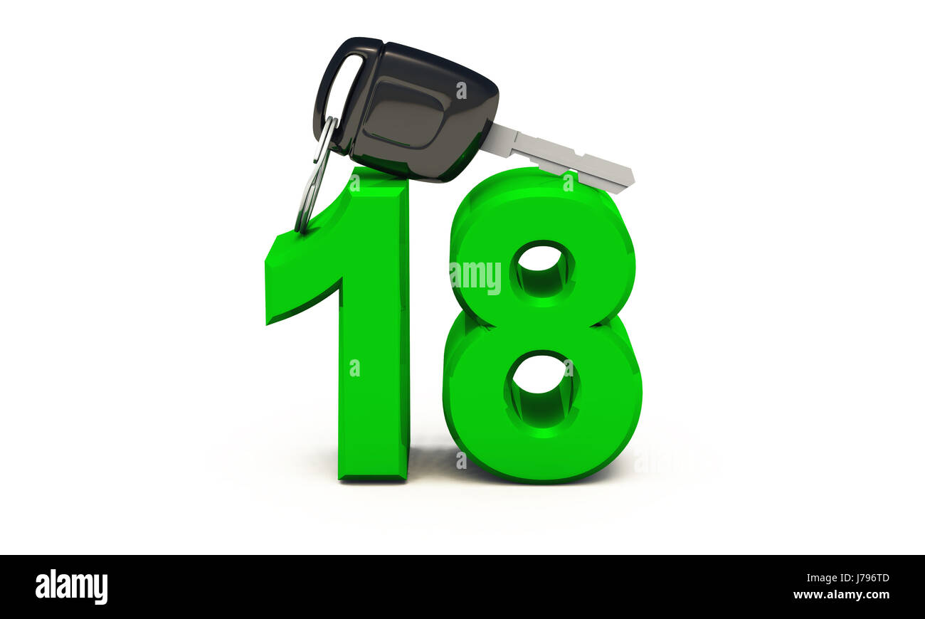 endlich 18 - driving license - green Stock Photo