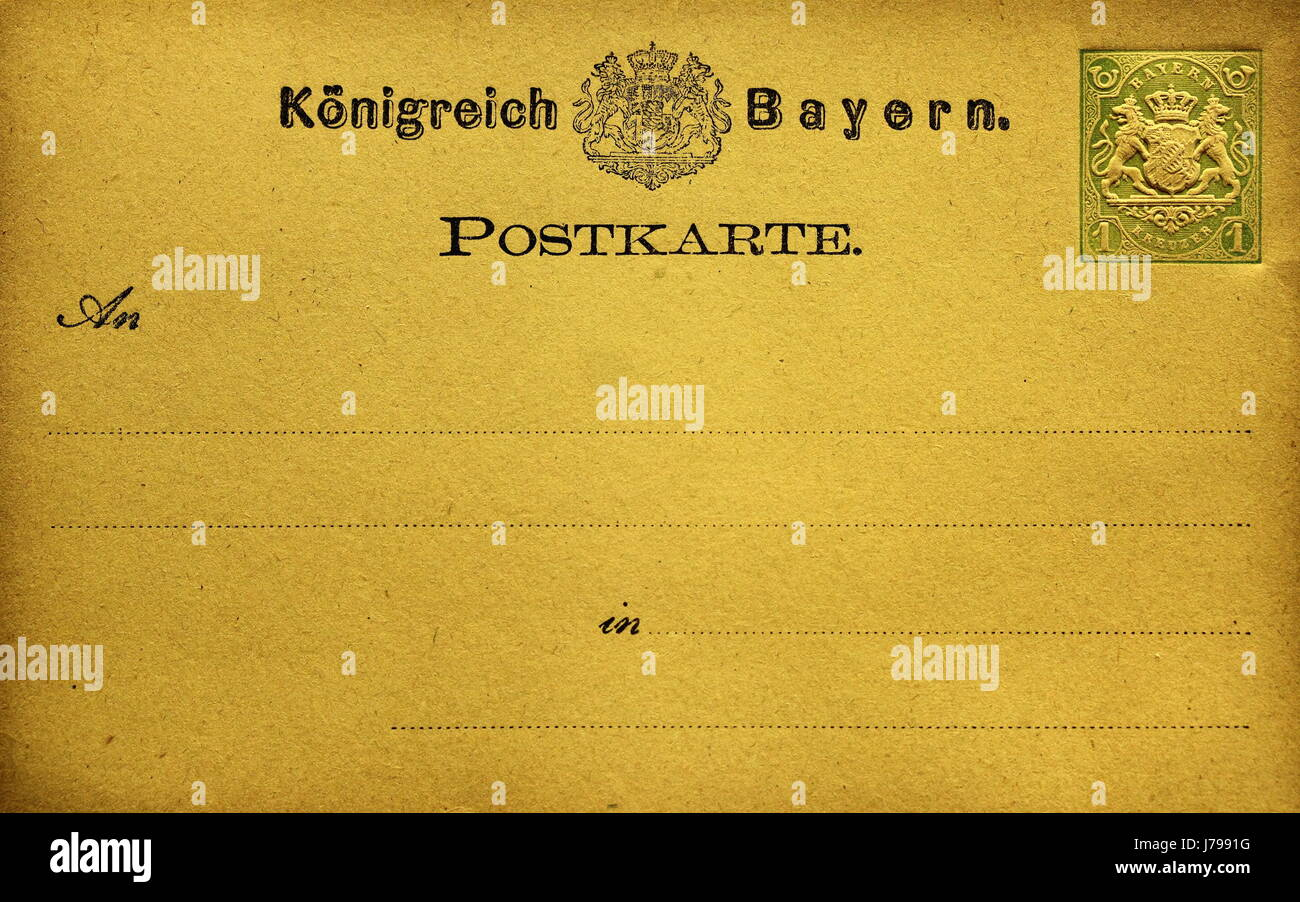 nostalgia bavaria postcard message kingdom nostalgia bavaria stamp postcard Stock Photo