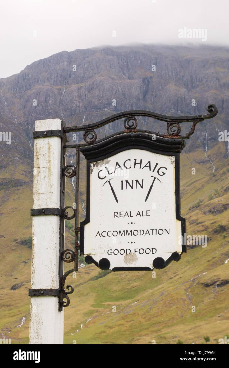 Clachaig Inn Pub sign,  Glencoe, Scotland, UK - Stock Image