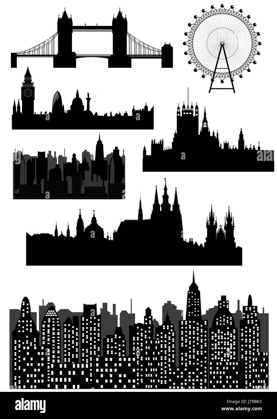 london landmark tower travel buildings church temple city town monument - Stock Image
