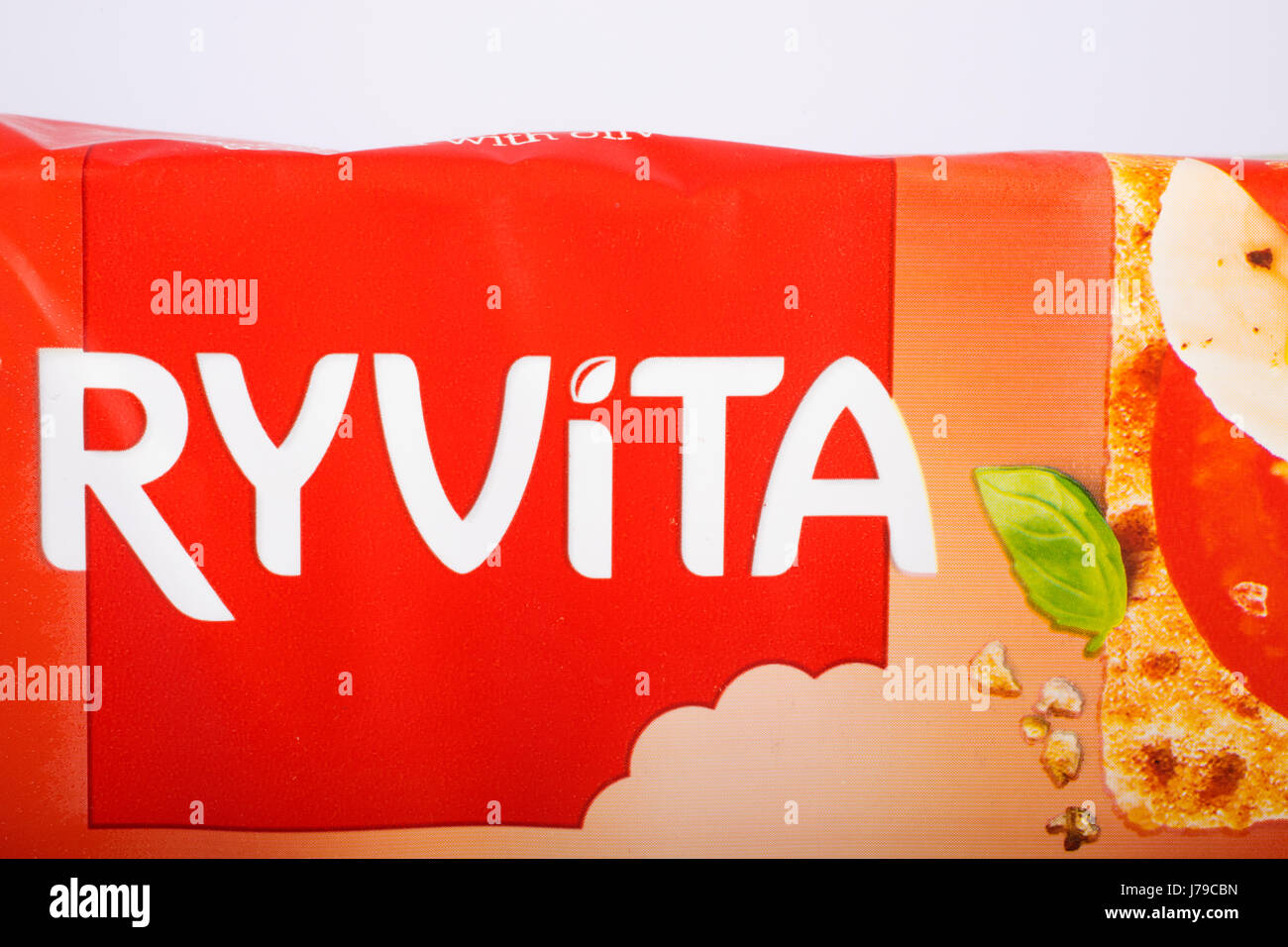 LONDON, UK - MAY 23RD 2017: The Ryvita logo on one of its crispbread products, on 23rd May 2017. The company is - Stock Image