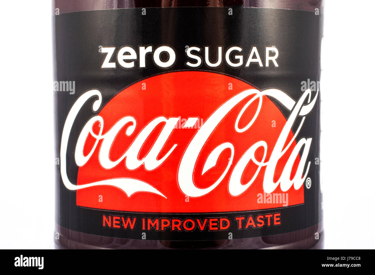 LONDON, UK - MAY 23RD 2017: A close-up shot of the label on a bottle of Zero Sugar Coca Cola, on 23rd May 2017. Stock Photo