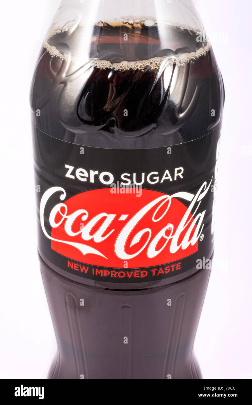 LONDON, UK - MAY 23RD 2017: A close-up shot of an unopened bottle of Zero Sugar Coca Cola, on 23rd May 2017. Stock Photo