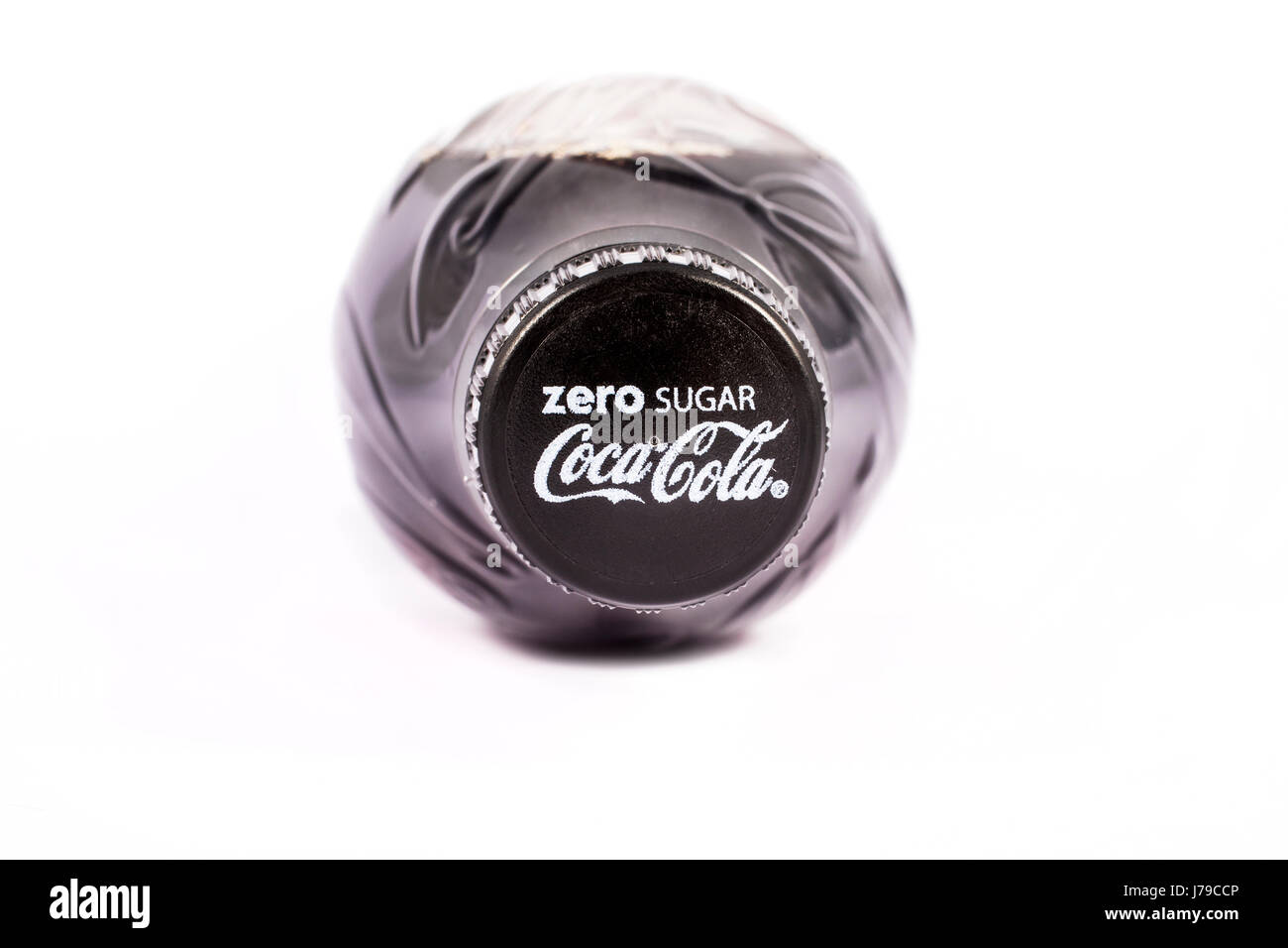 LONDON, UK - MAY 23RD 2017: A close-up shot of the top on a bottle of Zero Sugar Coca Cola, on 23rd May 2017. - Stock Image