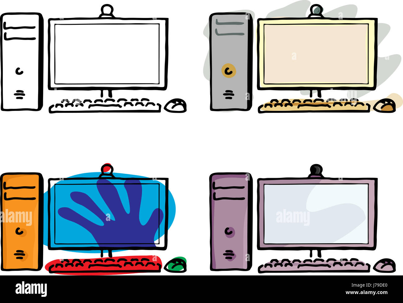 Desktop Cartoon Computers Computer Keyboard Pc Computers Computer Stock Photo Alamy