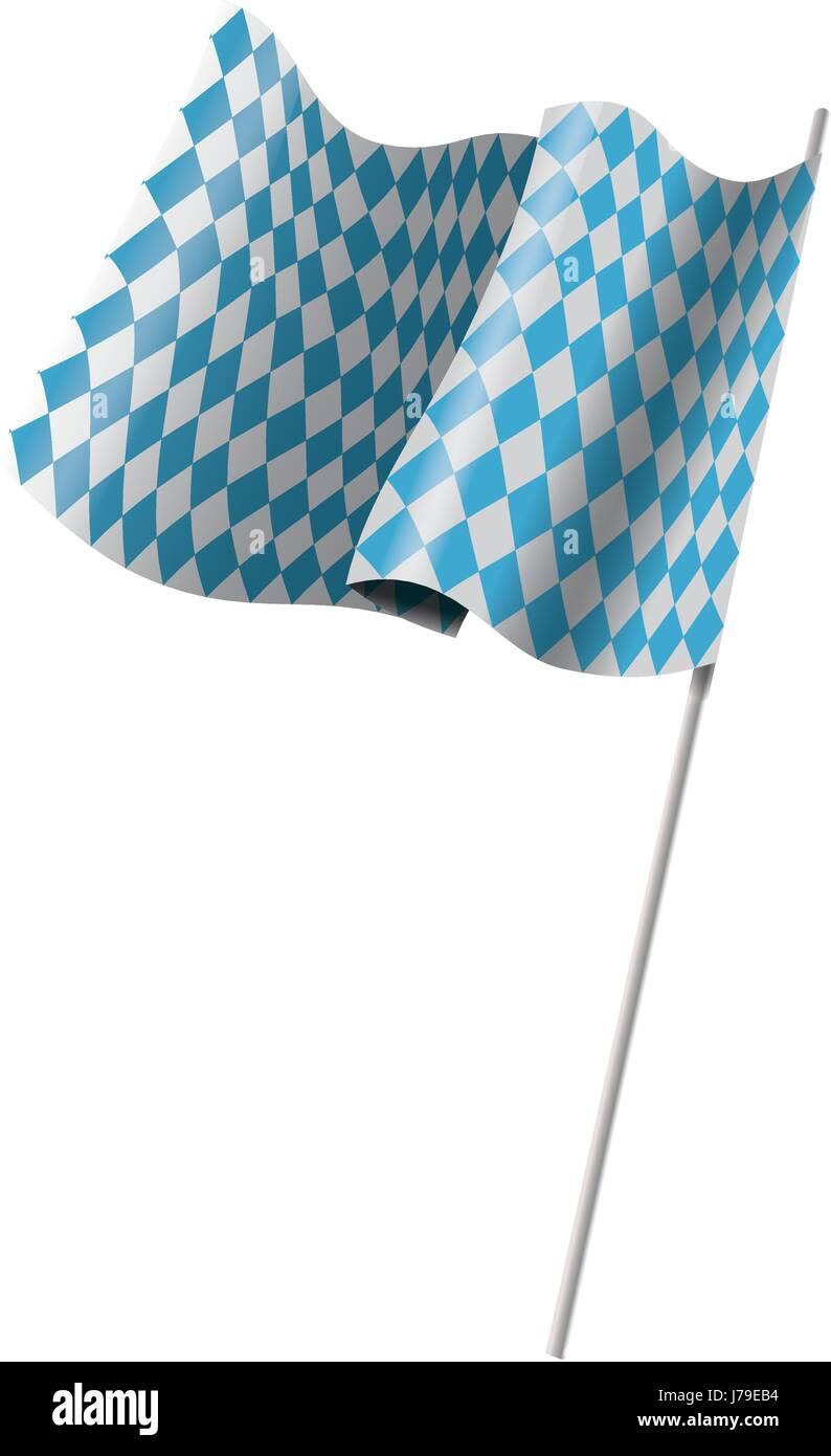 bavarian official flag, symbol, banner. oktoberfest, flag of bavaria on flagpole waving in the wind - Stock Vector