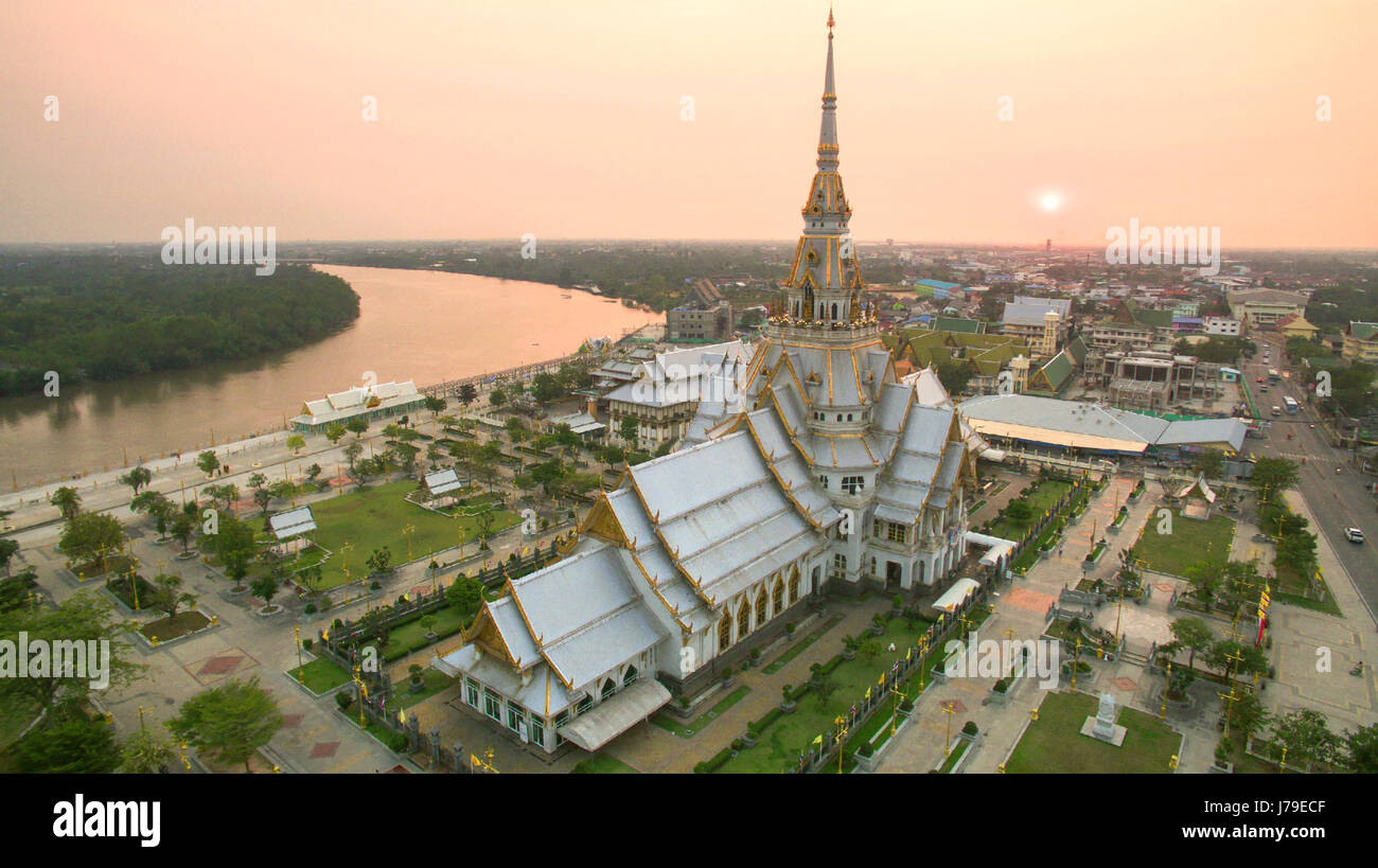 aerial view of wat sothorn templein chachengsao province eastern of thailand important buddhist religion church - Stock Image