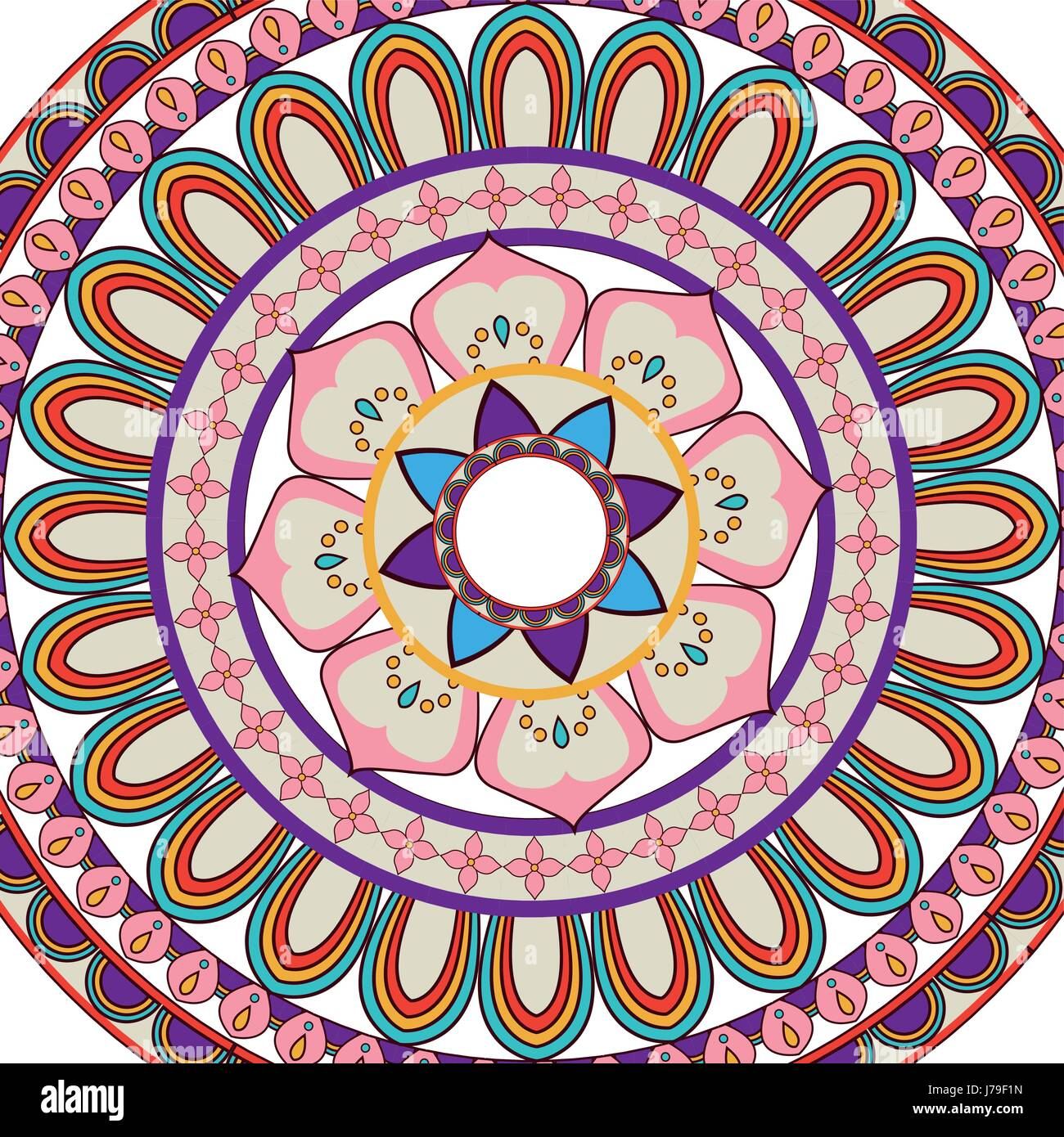 ornate abstract color mandala element. wallpaper, pattern fills, surface textures - Stock Image