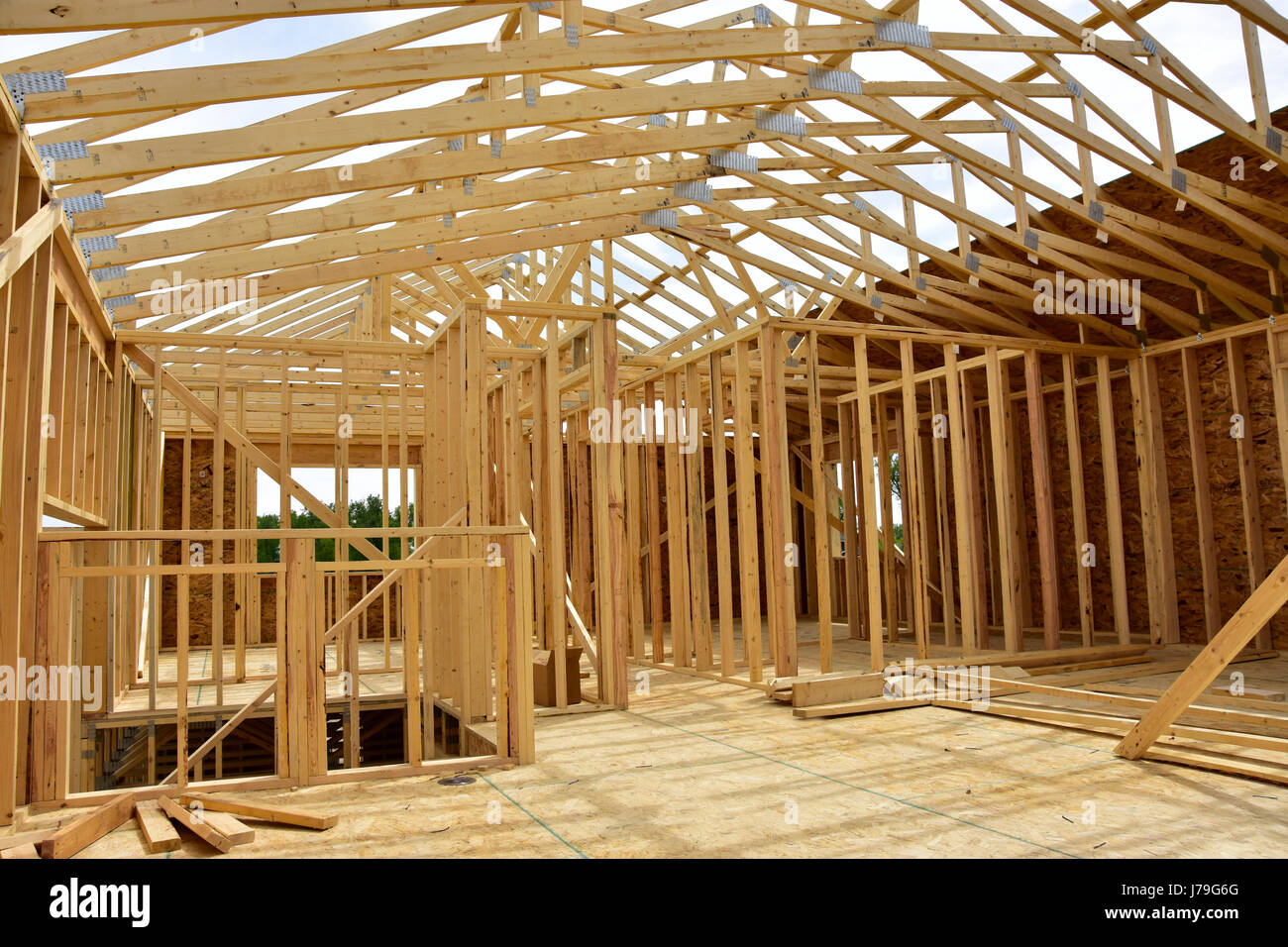 New wood frame homes under construction. - Stock Image