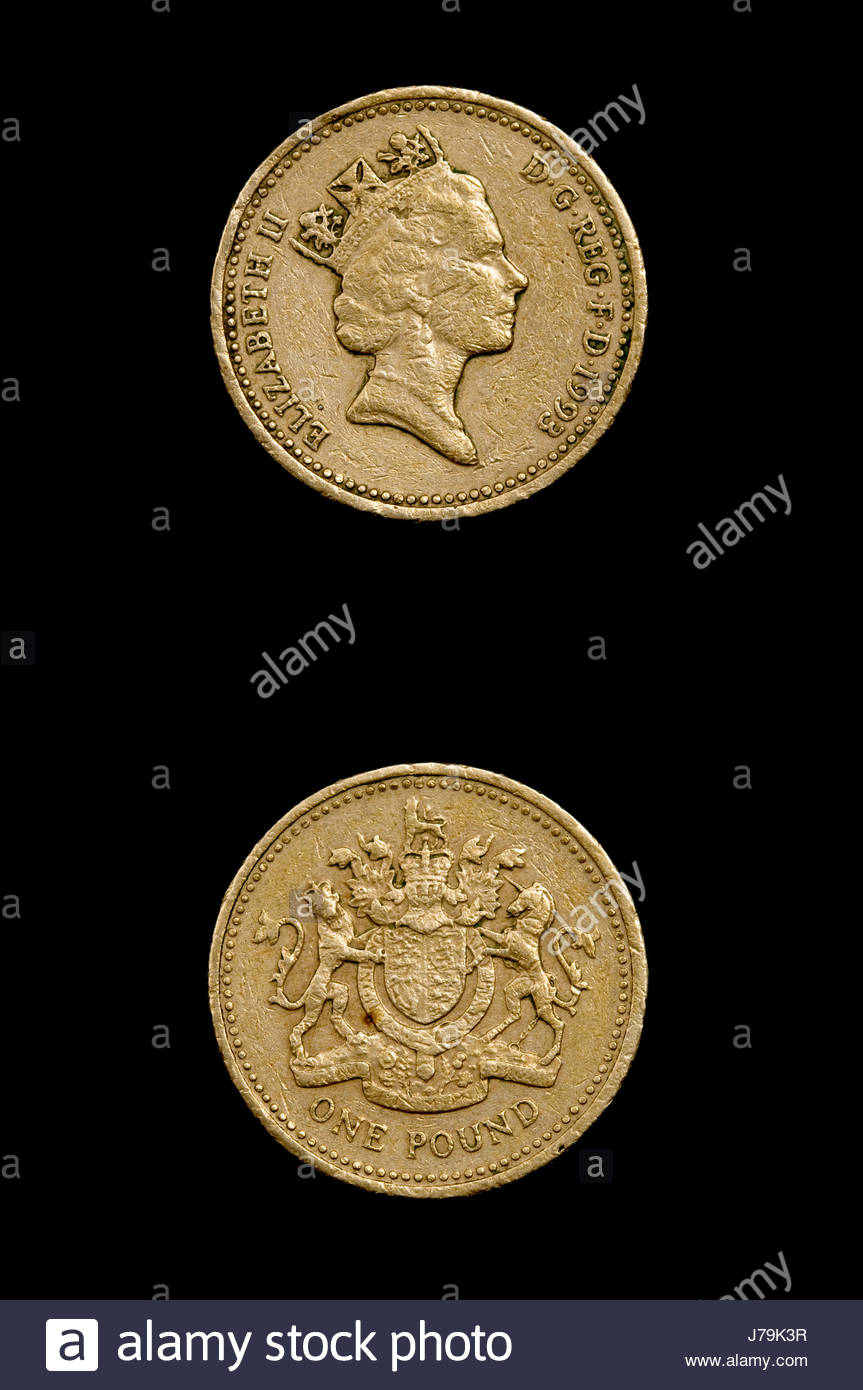 coin one numismatics old pound close macro close-up macro admission close up - Stock Image