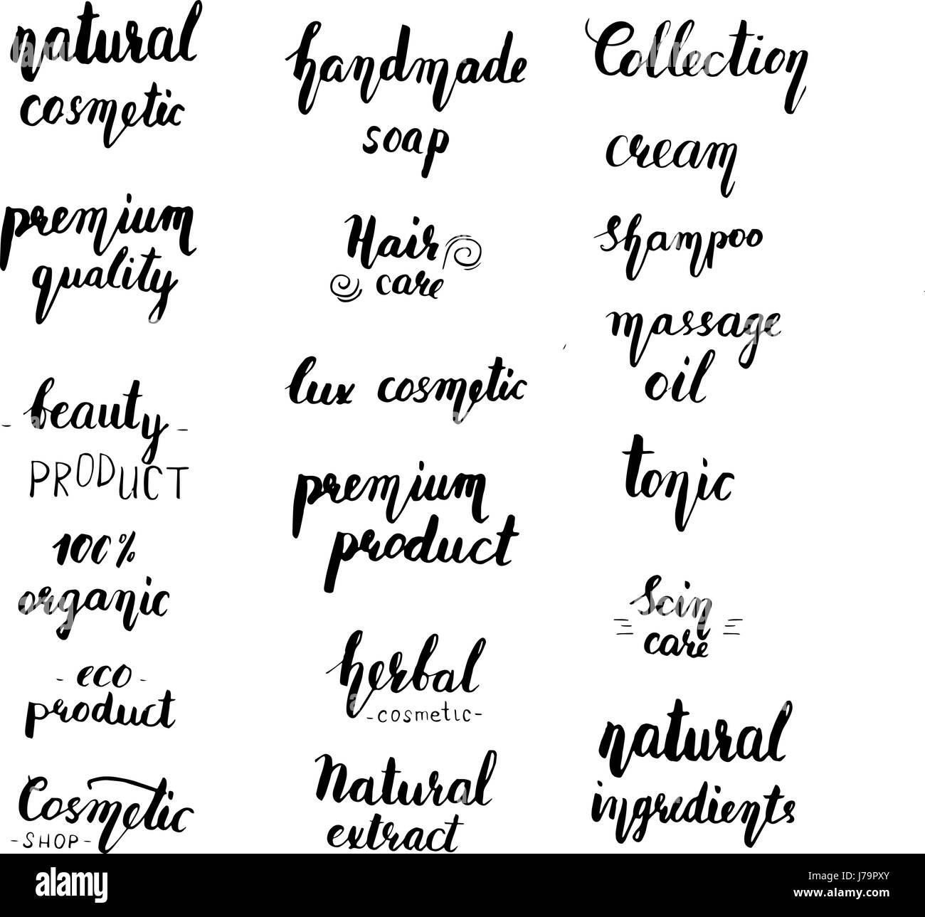Natural Cosmetic Lettering Set Vintage Label With Hand Drawn Modern Brush Style Can Be Used For Shop Boutique Line