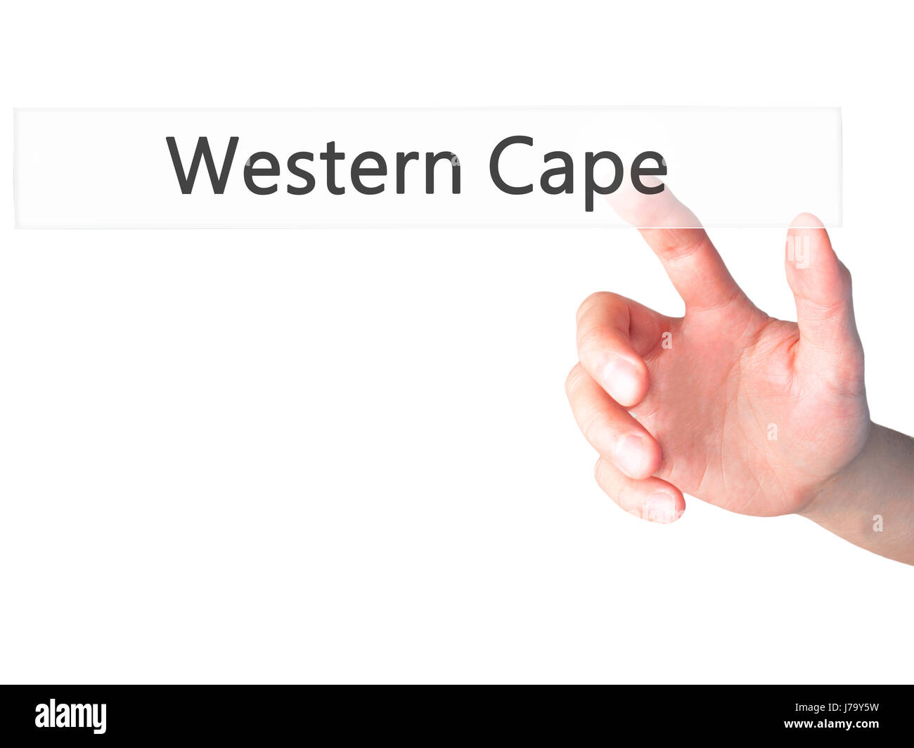 Western Cape - Hand pressing a button on blurred background concept . Business, technology, internet concept. Stock - Stock Image