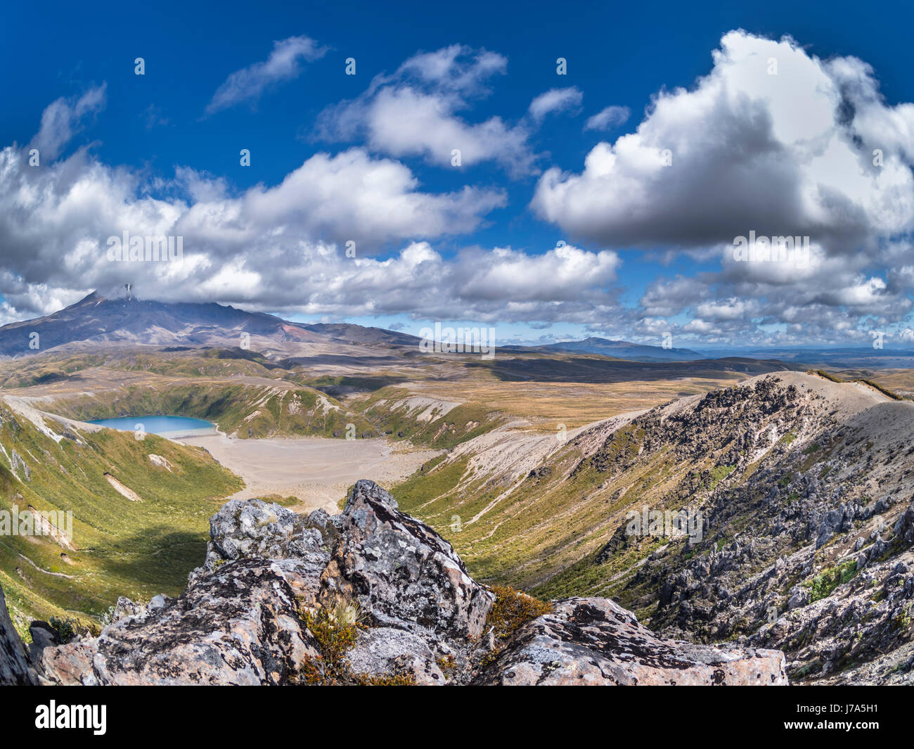 New Zealand, Ruapehu District, Tongariro National Park, Lower Tamer Lake, Mount Ruapehu, Mount Te Heuheu - Stock Image