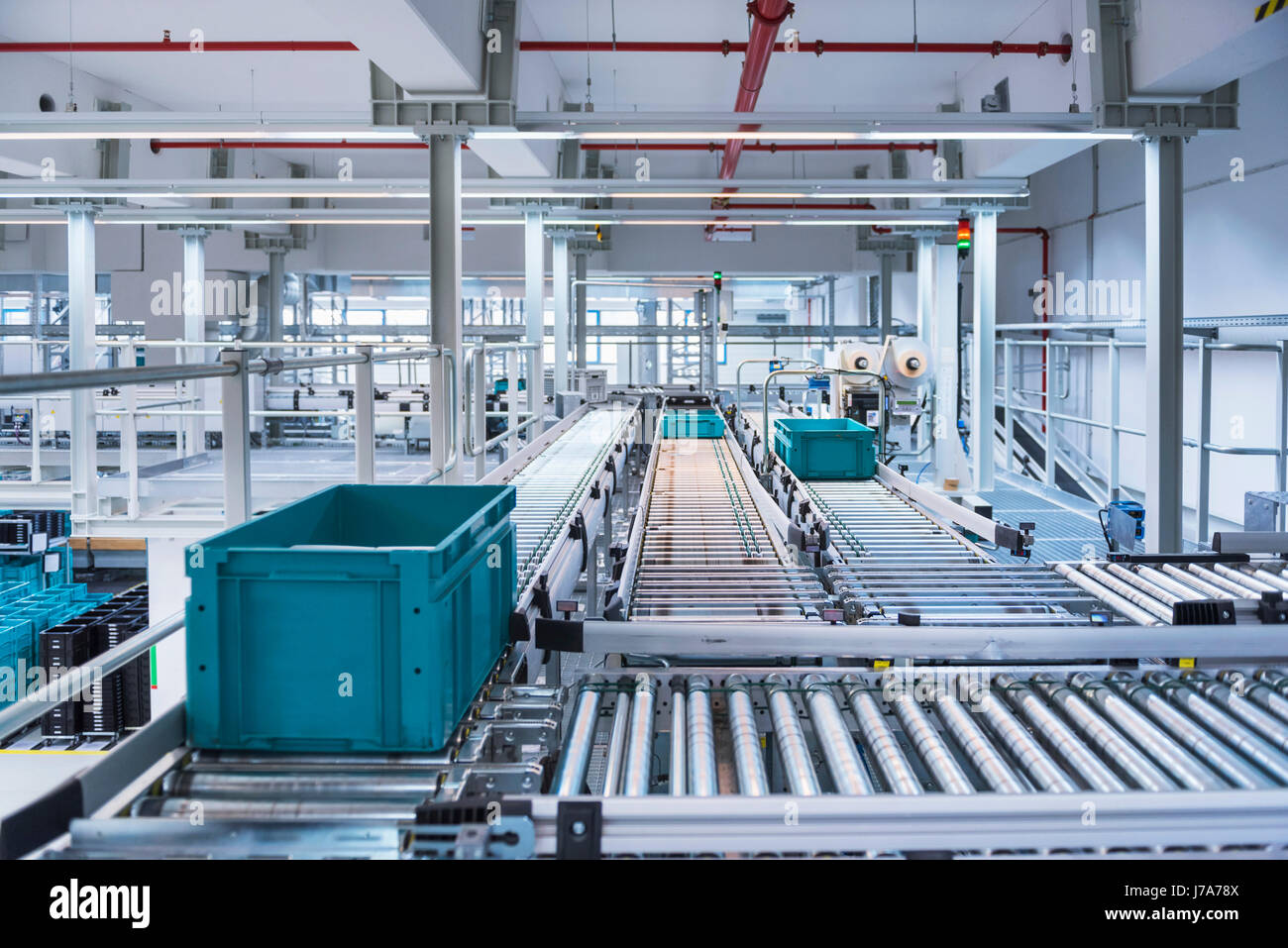 Boxes on conveyor belt in modern automatized high rack warehouse - Stock Image
