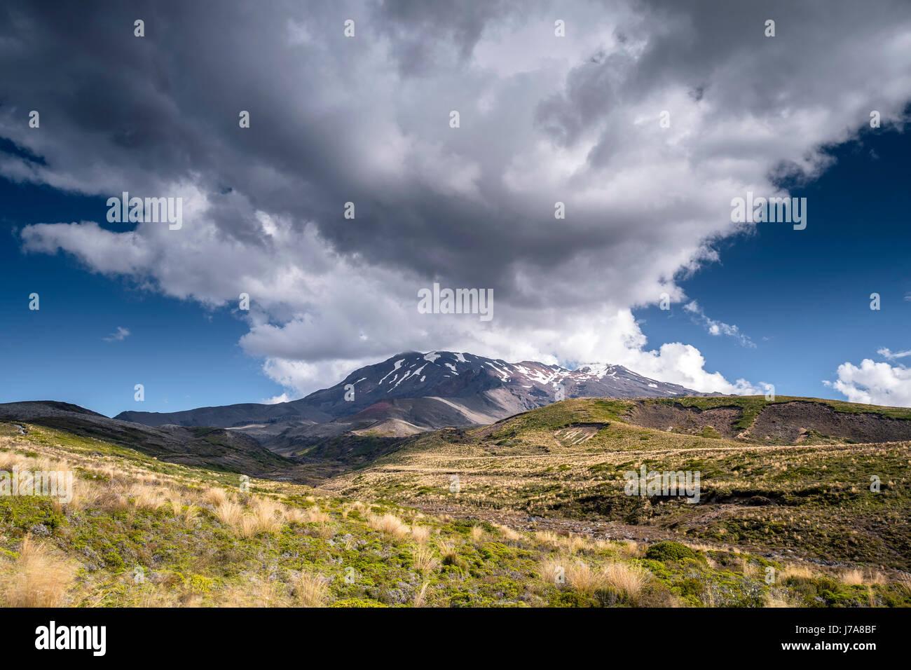 New Zealand, Ruapehu District, Tongariro National Park, Mount Ruapehu, Mount Te Heuheu - Stock Image