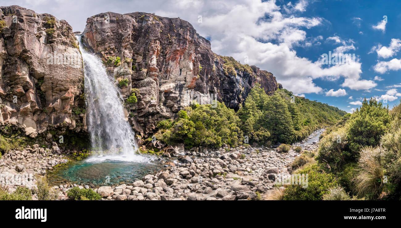 New Zealand, Ruapehu District, Tongariro National Park, Taranaki Falls - Stock Image