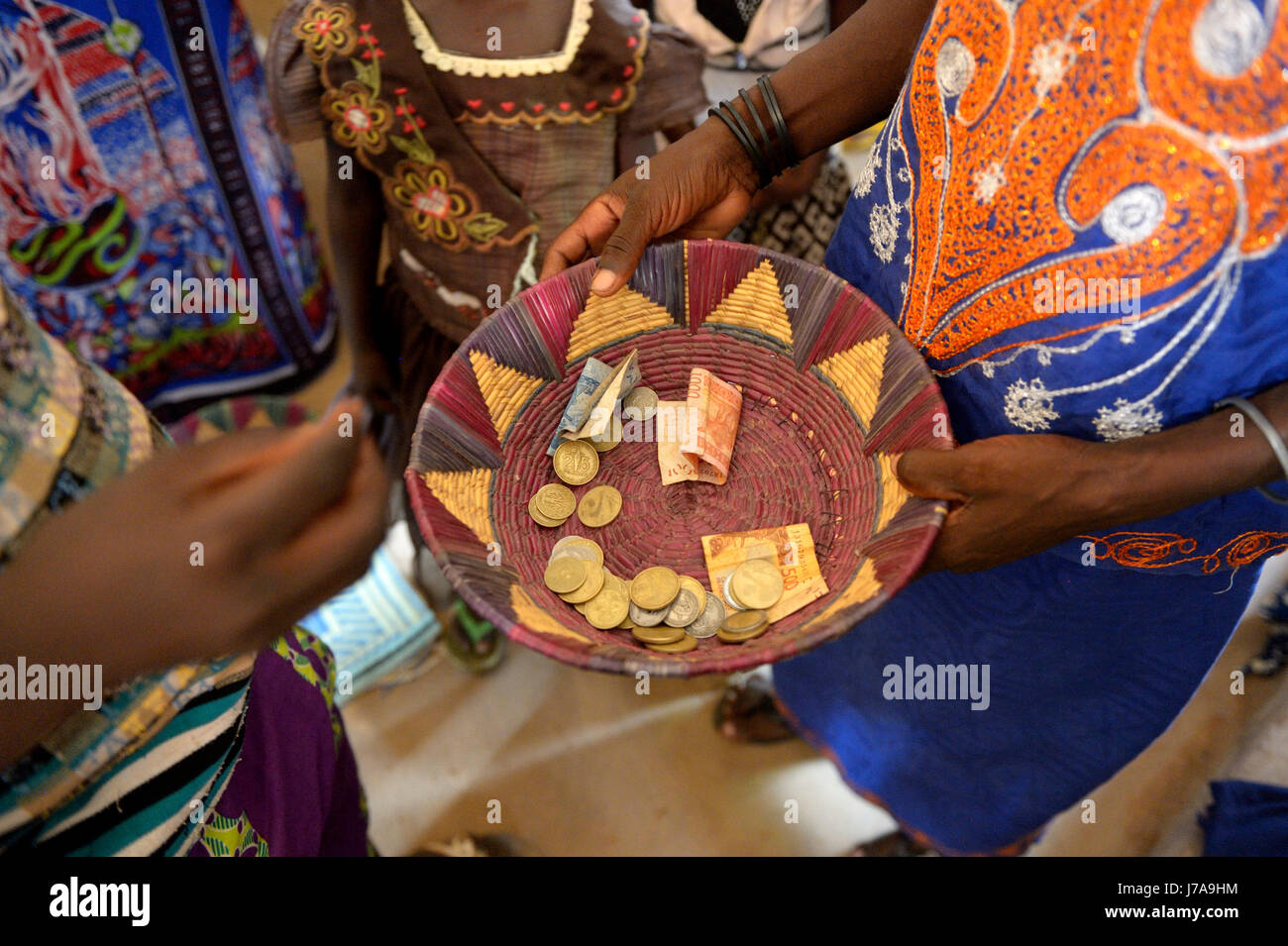 Burkina Faso, collection during a mass - Stock Image
