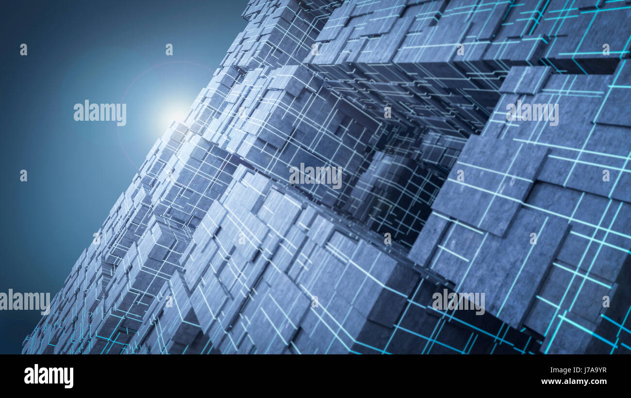 Light shining above futuristic cubes, 3d rendering - Stock Image