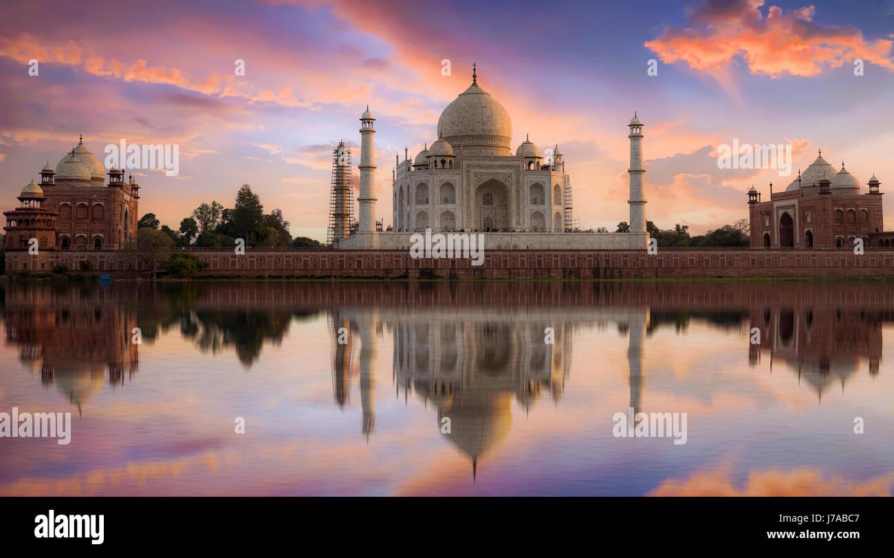Taj Mahal Agra at twilight from Mehtab Bagh. Taj Mahal is a white marble mausoleum designated as a UNESCO World - Stock Image