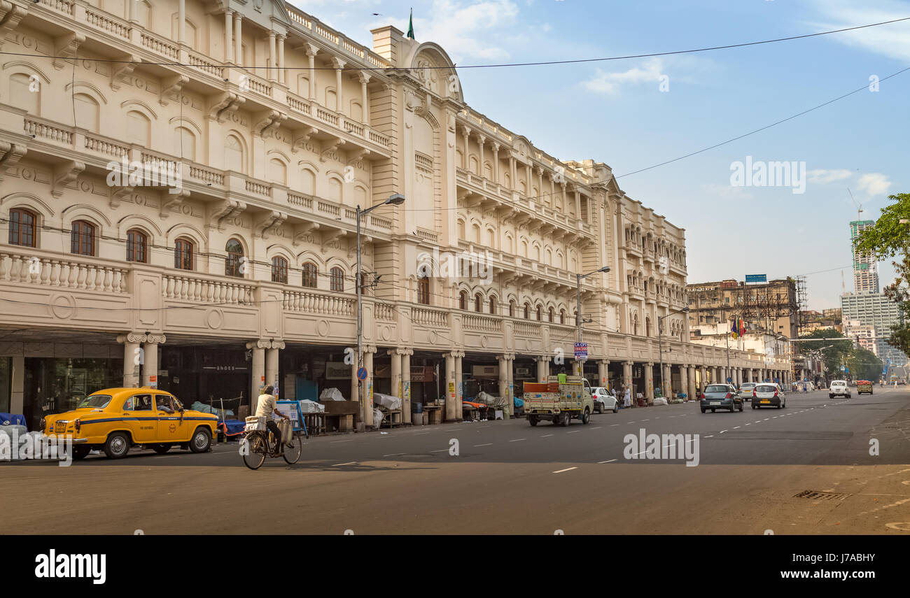 India city landmarks with old heritage buildings and city road with early morning traffic. Photo taken on important - Stock Image