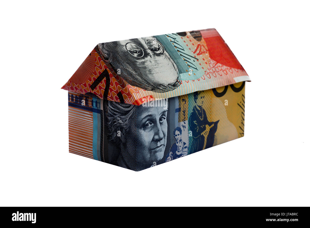 Origami house made with Australian Notes - Stock Image