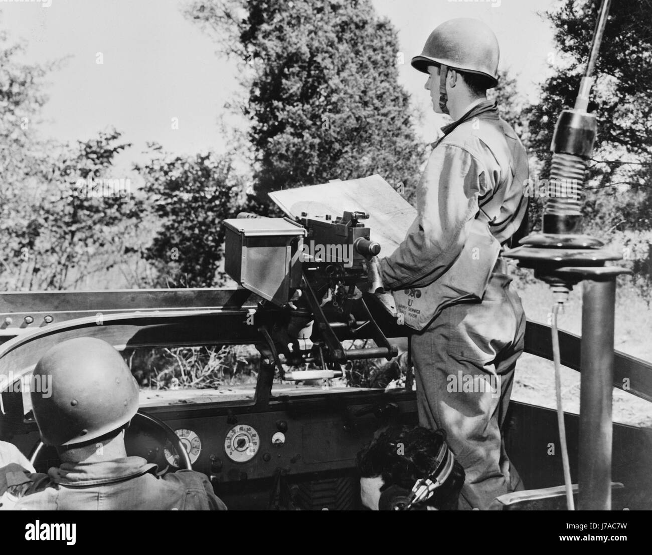 Soldiers of a reconnaissance squad with the Second Army, in a scout car, circa 1942. - Stock Image