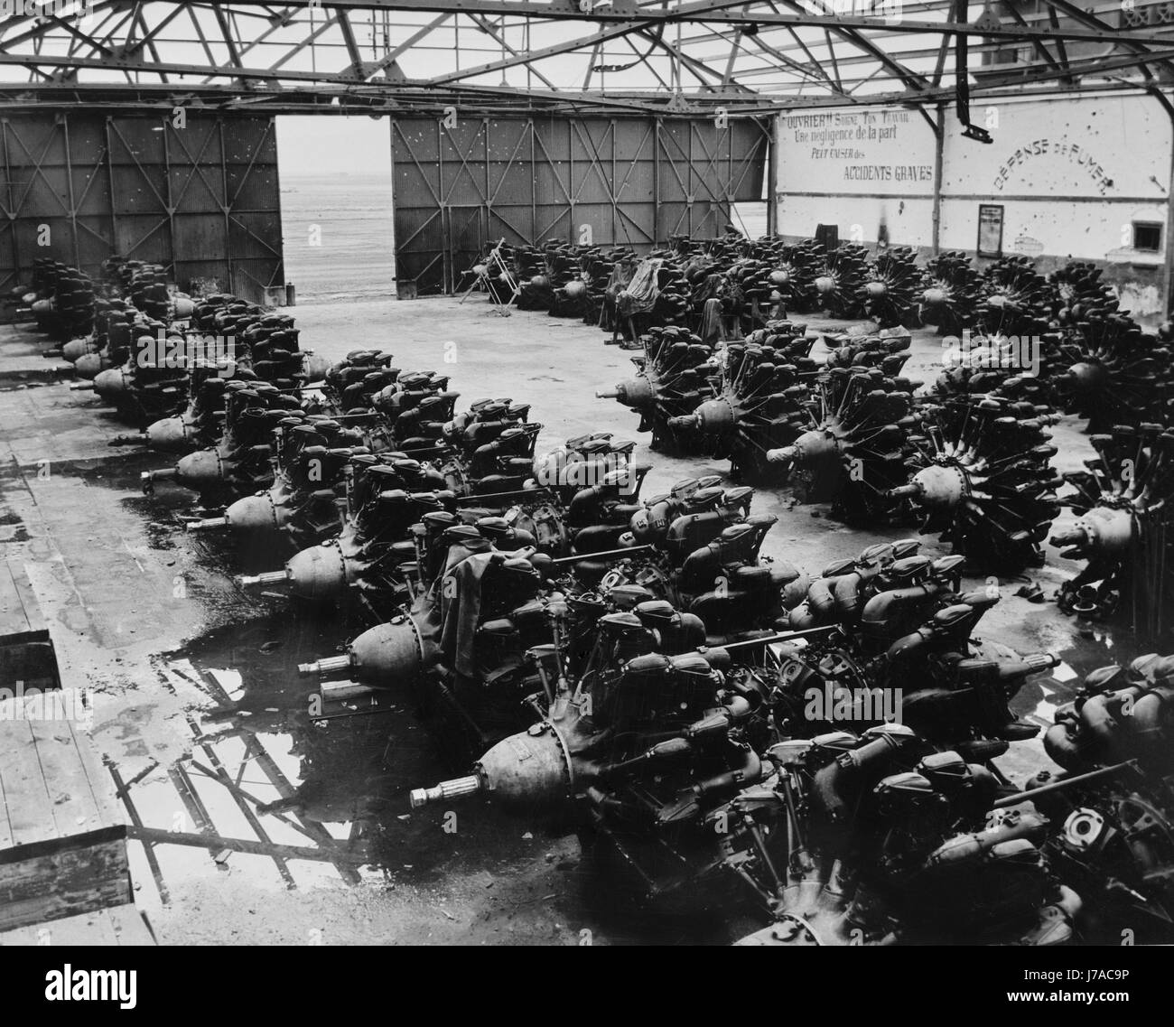 Warehouse of French airplane engines, circa 1943. - Stock Image